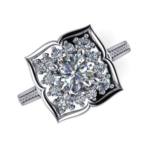 Round Cut Floral Halo Channel Accented Engagement Ring