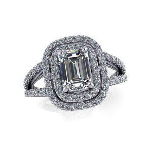 Emerald Cut Split Shank Double Halo Engagement Ring