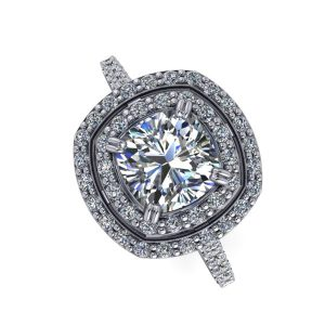 Cushion Cut Double Halo Accented Engagement Ring