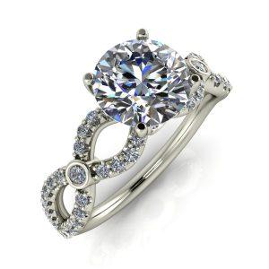 Round Diamond Infinity-Inspired Engagement Ring