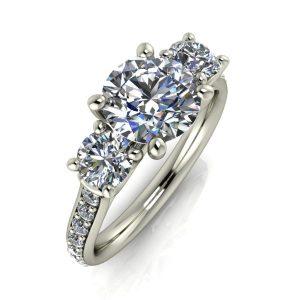 Round Three-Stone Engagement Ring
