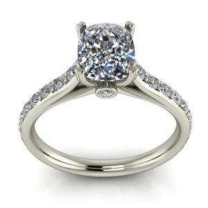 Cushion Accented Engagement Ring