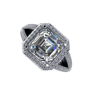 Asscher Cut Diamond Accented Halo Engagement Ring
