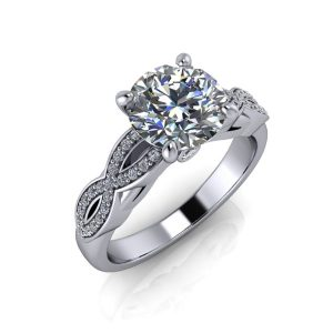 Round Wave Band Engagement Ring