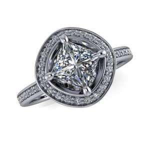 Square Engagement Ring Mounting with Round Halo