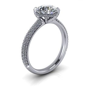Round Pave Accented Engagement Ring