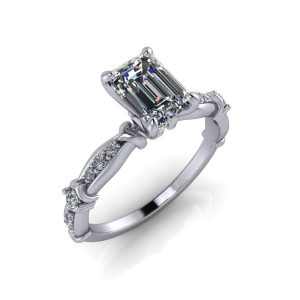 Accented Wave Band Engagement Ring