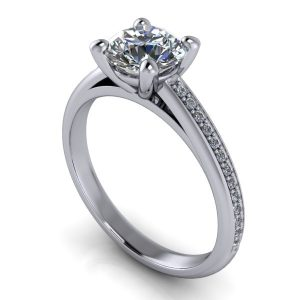 Channeled Prong-Set Engagement Ring
