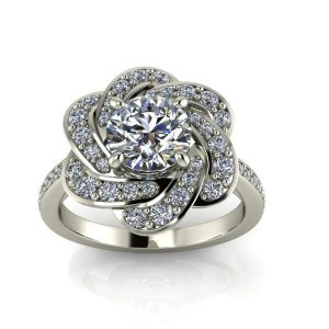 Floral Inspired Halo-Style Engagement Ring