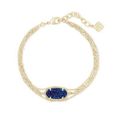 Elaina Multi Strand Bracelet Gold Indigo Blue Drusy