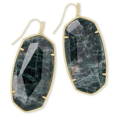 Faceted Danielle Earring Gold Green Apatite