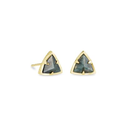 Perry Stud Earring Gold Green Apatite