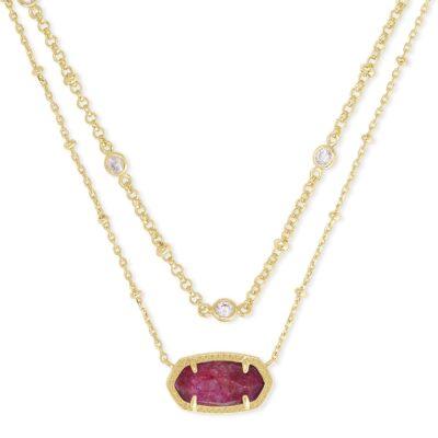 Elisa Multi Strand Necklace Gold Raspberry Labradorite