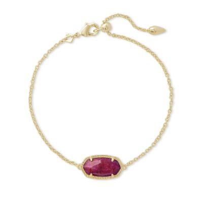 Elaina Single Slide Bracelet Gold Raspberry Labradorite