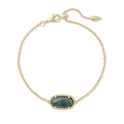 Elaina Single Slide Bracelet Gold Green Apatite