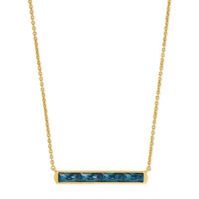 Jack Pendant Necklace Vintage Gold Teal Crystal