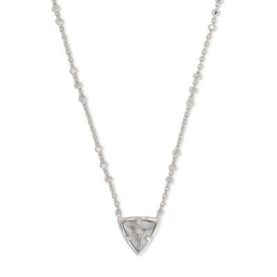 Perry Short Pendant Necklace Rhodium Gray Illusion
