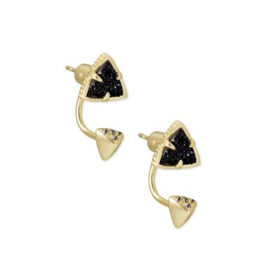 Perry Ear Jacket Gold Black Drusy