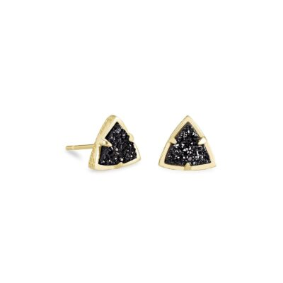Perry Stud Earring Gold Black Drusy