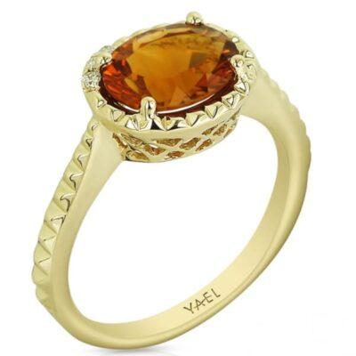 14 karat yellow citrine diamond ring